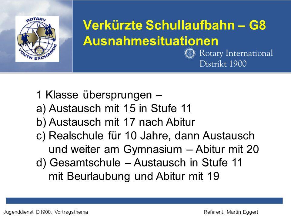 Referent: Martin EggertJugenddienst D1900: Vortragsthema Verkürzte Schullaufbahn – G8 Ausnahmesituationen 1 Klasse übersprungen – a) Austausch mit 15