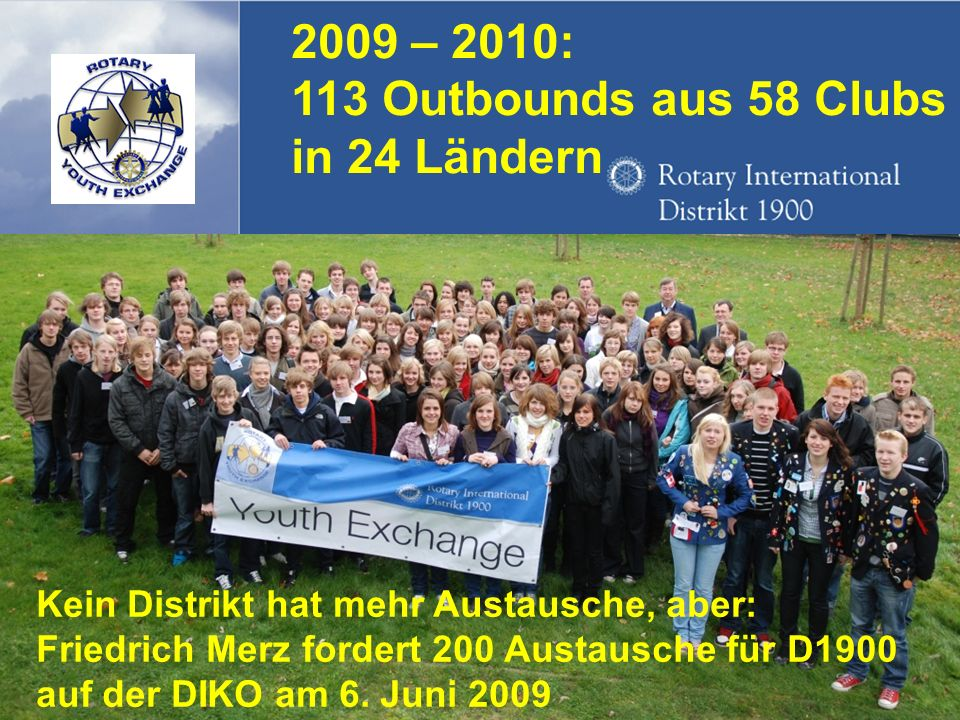 Referent: Martin EggertJugenddienst D1900: Vortragsthema 2009 – 2010: 113 Outbounds aus 58 Clubs in 24 Ländern Kein Distrikt hat mehr Austausche, aber: Friedrich Merz fordert 200 Austausche für D1900 auf der DIKO am 6.