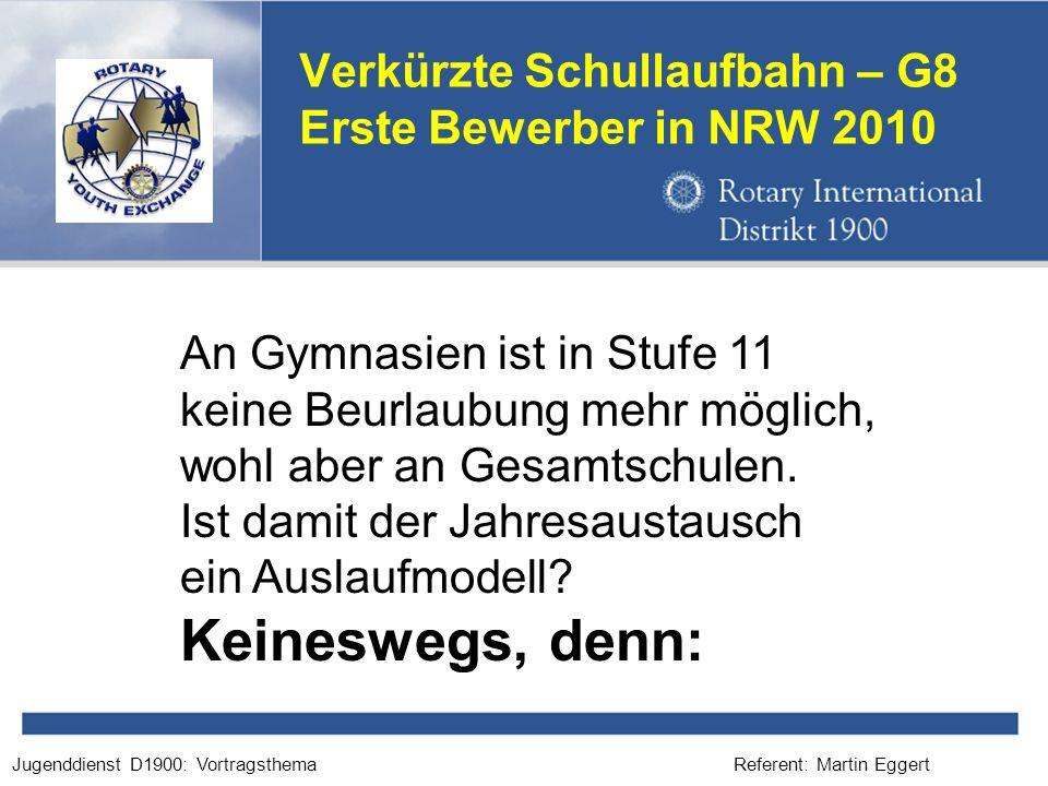 Referent: Martin EggertJugenddienst D1900: Vortragsthema Verkürzte Schullaufbahn – G8 Erste Bewerber in NRW 2010 An Gymnasien ist in Stufe 11 keine Beurlaubung mehr möglich, wohl aber an Gesamtschulen.