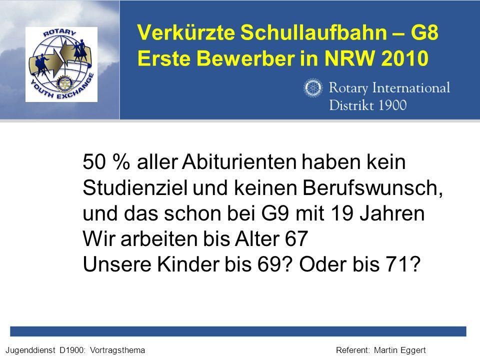 Referent: Martin EggertJugenddienst D1900: Vortragsthema Verkürzte Schullaufbahn – G8 Erste Bewerber in NRW 2010 50 % aller Abiturienten haben kein Studienziel und keinen Berufswunsch, und das schon bei G9 mit 19 Jahren Wir arbeiten bis Alter 67 Unsere Kinder bis 69.