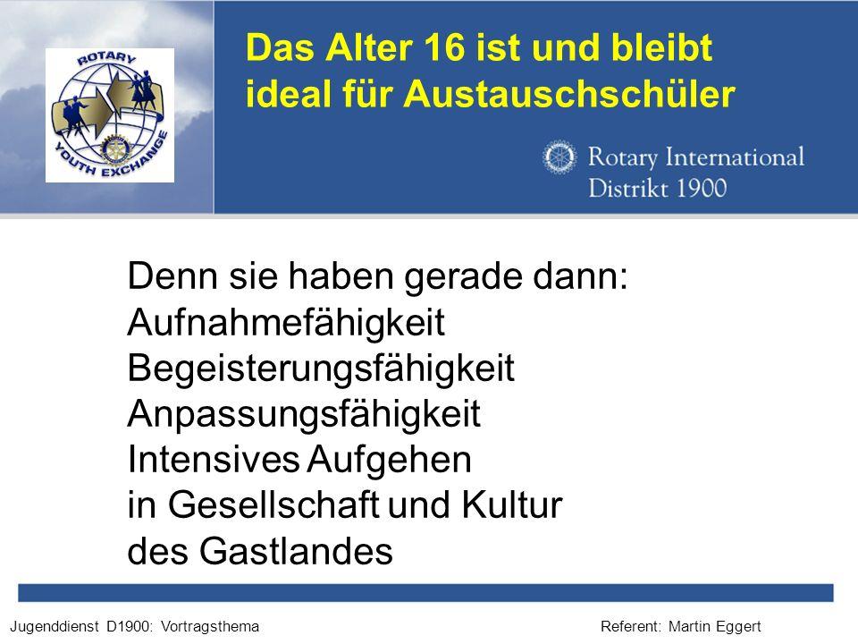 Referent: Martin EggertJugenddienst D1900: Vortragsthema Das Alter 16 ist und bleibt ideal für Austauschschüler Denn sie haben gerade dann: Aufnahmefä
