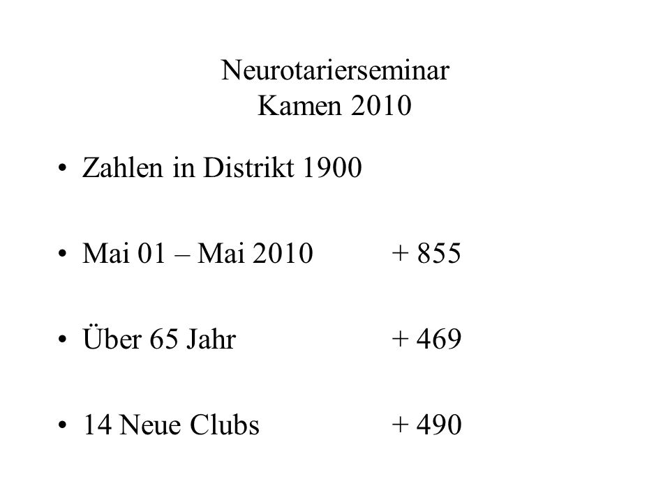 Neurotarierseminar Kamen 2010 Zahlen in Distrikt 1900 Mai 01 – Mai 2010+ 855 Über 65 Jahr+ 469 14 Neue Clubs+ 490