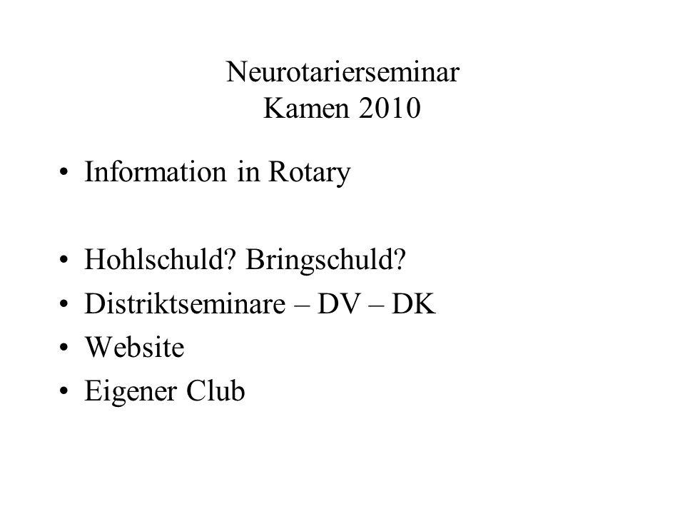 Neurotarierseminar Kamen 2010 Information in Rotary Hohlschuld.
