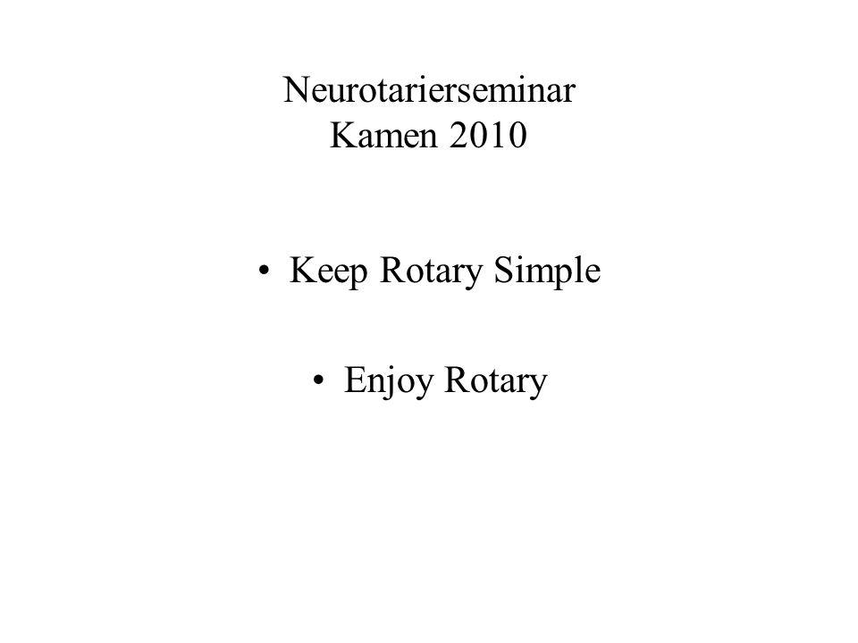 Neurotarierseminar Kamen 2010 Keep Rotary Simple Enjoy Rotary