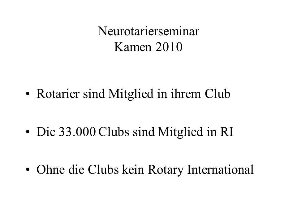 Neurotarierseminar Kamen 2010 Rotarier sind Mitglied in ihrem Club Die 33.000 Clubs sind Mitglied in RI Ohne die Clubs kein Rotary International