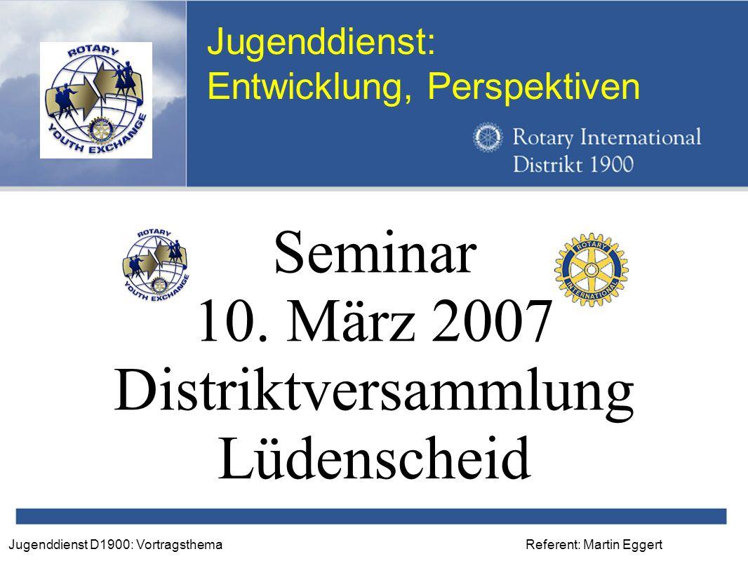 Referent: Martin EggertJugenddienst D1900: Vortragsthema Jugenddienst: Entwicklung, Perspektiven Seminar 10.