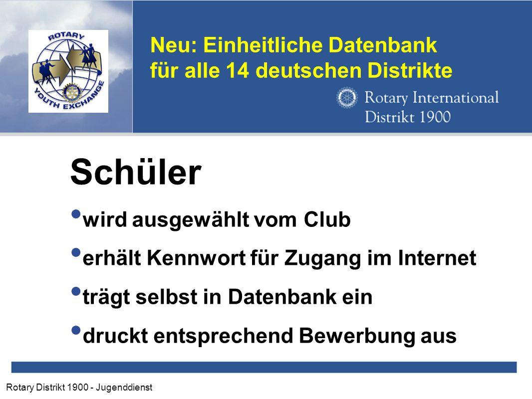 Rotary Distrikt 1900 - Jugenddienst Neu: Einheitliche Datenbank für alle 14 deutschen Distrikte Schüler wird ausgewählt vom Club erhält Kennwort für Zugang im Internet trägt selbst in Datenbank ein druckt entsprechend Bewerbung aus