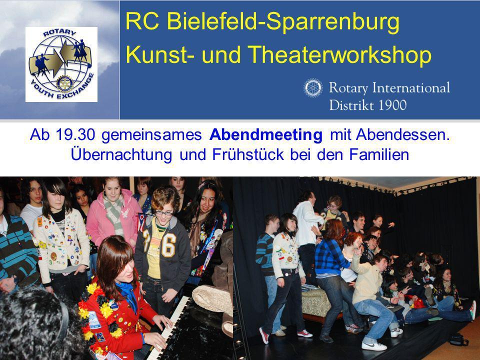 Referent: Martin EggertJugenddienst D1900: Vortragsthema RC Bielefeld-Sparrenburg Kunst- und Theaterworkshop Ab 19.30 gemeinsames Abendmeeting mit Abendessen.