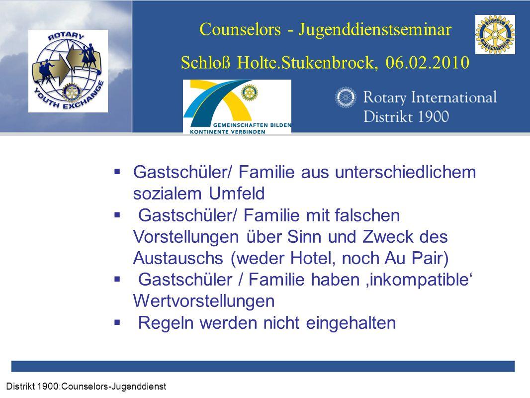 Distrikt 1900:Counselors-Jugenddienst Counselors - Jugenddienstseminar Schloß Holte.Stukenbrock, 06.02.2010 Gastschüler/ Familie aus unterschiedlichem