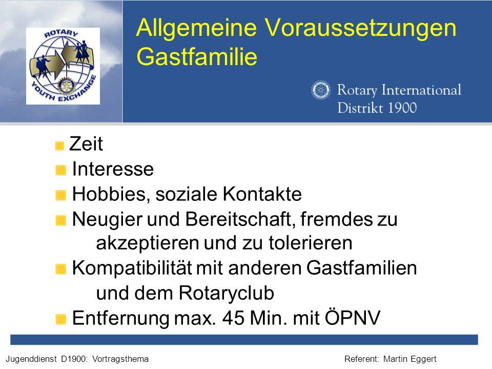 Referent: Martin EggertJugenddienst D1900: Vortragsthema Allgemeine Voraussetzungen Gastfamilie Zeit Interesse Hobbies, soziale Kontakte Neugier und B