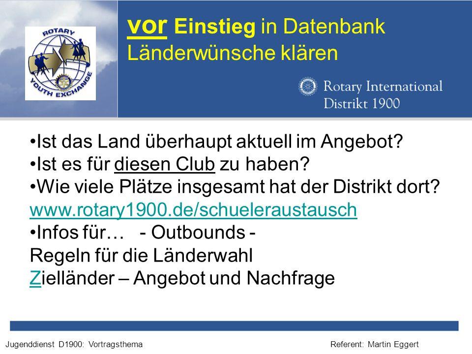 Referent: Martin EggertJugenddienst D1900: Vortragsthema vor Einstieg in Datenbank Länderwünsche klären Ist das Land überhaupt aktuell im Angebot? Ist