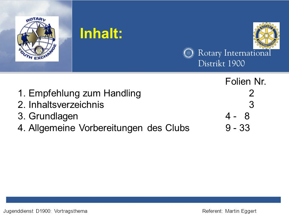 Referent: Martin EggertJugenddienst D1900: Vortragsthema Inhalt: Folien Nr. 1.Empfehlung zum Handling2 2.Inhaltsverzeichnis3 3.Grundlagen 4 - 8 4.Allg