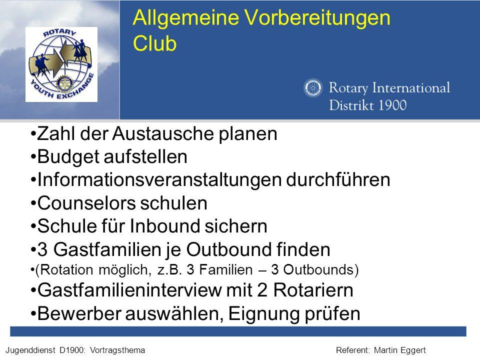Referent: Martin EggertJugenddienst D1900: Vortragsthema Allgemeine Vorbereitungen Club Zahl der Austausche planen Budget aufstellen Informationsveran