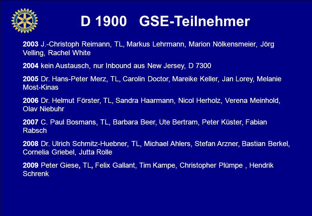D 1900 GSE-Teilnehmer 2003 J.-Christoph Reimann, TL, Markus Lehrmann, Marion Nölkensmeier, Jörg Velling, Rachel White 2004 kein Austausch, nur Inbound aus New Jersey, D 7300 2005 Dr.