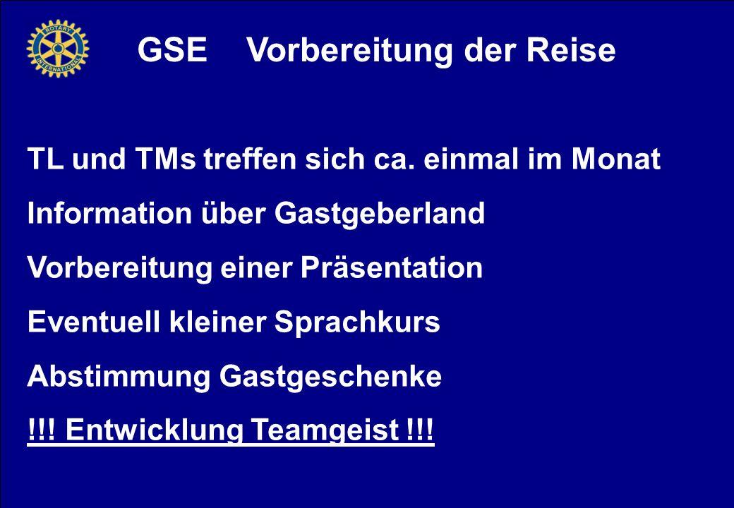 GSE Vorbereitung der Reise TL und TMs treffen sich ca.