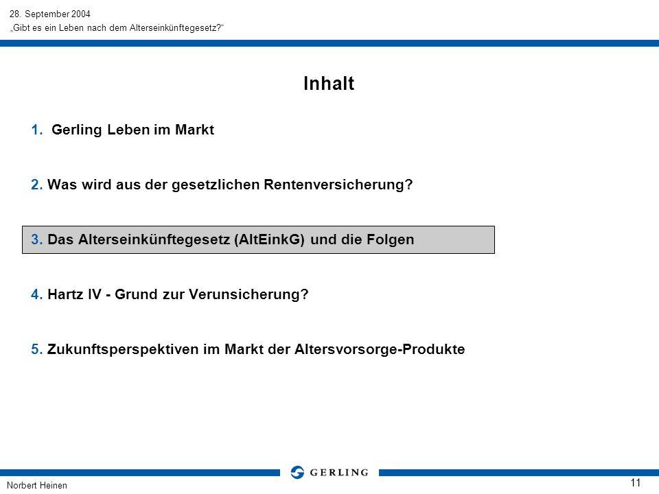 28. September 2004 Norbert Heinen 11 Gibt es ein Leben nach dem Alterseinkünftegesetz? Inhalt 1.Gerling Leben im Markt 2. Was wird aus der gesetzliche