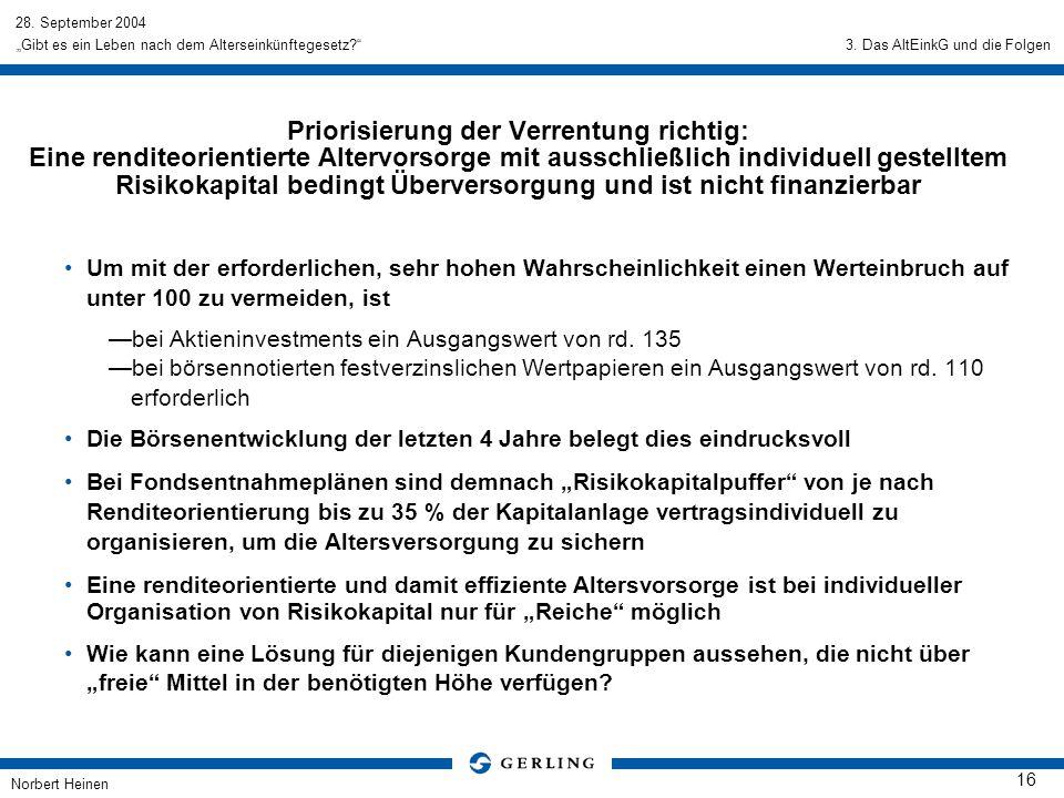 28. September 2004 Norbert Heinen 16 Gibt es ein Leben nach dem Alterseinkünftegesetz? Um mit der erforderlichen, sehr hohen Wahrscheinlichkeit einen