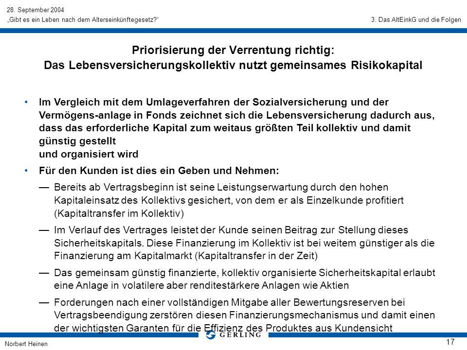 28. September 2004 Norbert Heinen 17 Gibt es ein Leben nach dem Alterseinkünftegesetz? Priorisierung der Verrentung richtig: Das Lebensversicherungsko