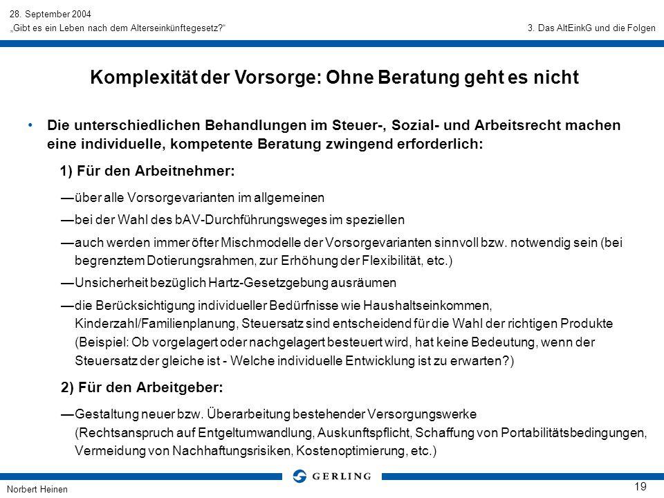 28. September 2004 Norbert Heinen 19 Gibt es ein Leben nach dem Alterseinkünftegesetz? Die unterschiedlichen Behandlungen im Steuer-, Sozial- und Arbe
