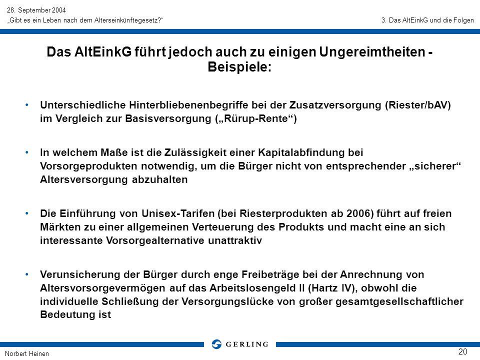 28. September 2004 Norbert Heinen 20 Gibt es ein Leben nach dem Alterseinkünftegesetz? Das AltEinkG führt jedoch auch zu einigen Ungereimtheiten - Bei