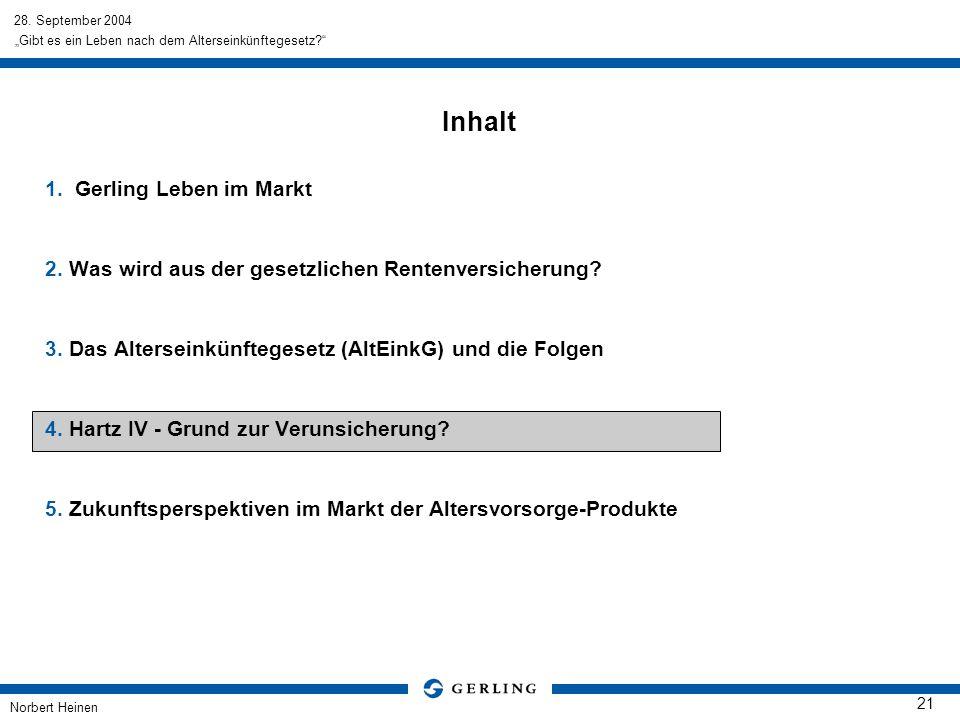 28. September 2004 Norbert Heinen 21 Gibt es ein Leben nach dem Alterseinkünftegesetz? Inhalt 1.Gerling Leben im Markt 2. Was wird aus der gesetzliche