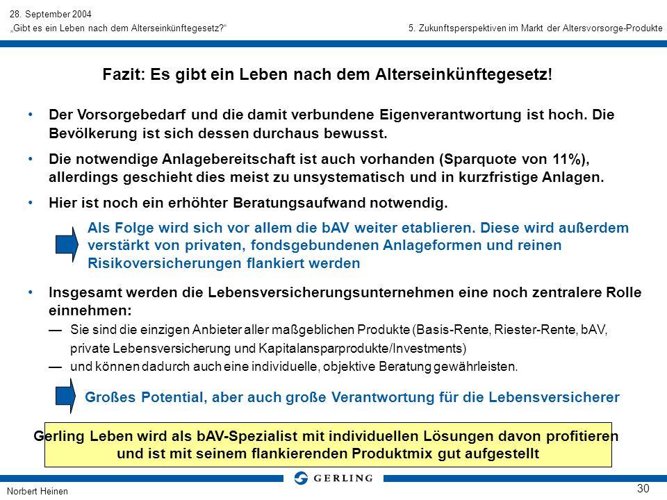 28. September 2004 Norbert Heinen 30 Gibt es ein Leben nach dem Alterseinkünftegesetz? Fazit: Es gibt ein Leben nach dem Alterseinkünftegesetz! Der Vo