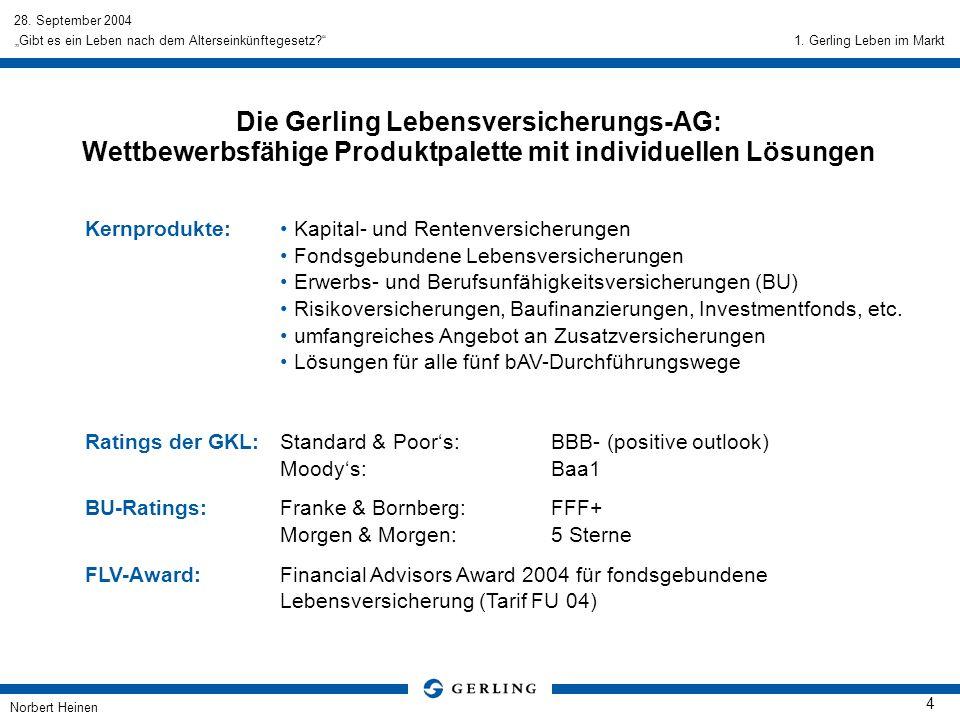 28. September 2004 Norbert Heinen 4 Gibt es ein Leben nach dem Alterseinkünftegesetz? Die Gerling Lebensversicherungs-AG: Wettbewerbsfähige Produktpal
