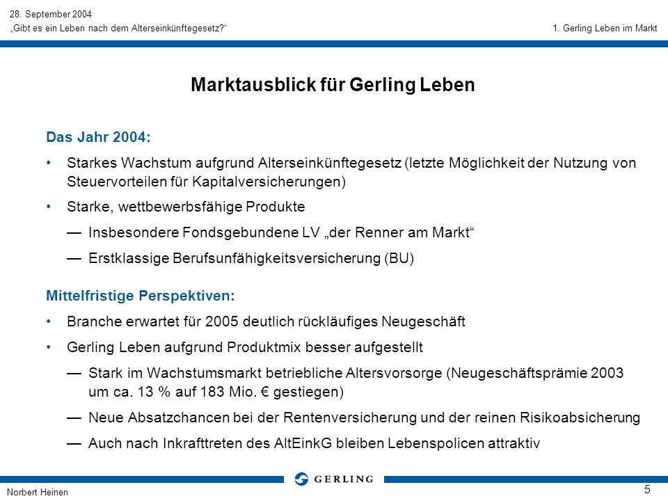 28. September 2004 Norbert Heinen 5 Gibt es ein Leben nach dem Alterseinkünftegesetz? Marktausblick für Gerling Leben Das Jahr 2004: Starkes Wachstum