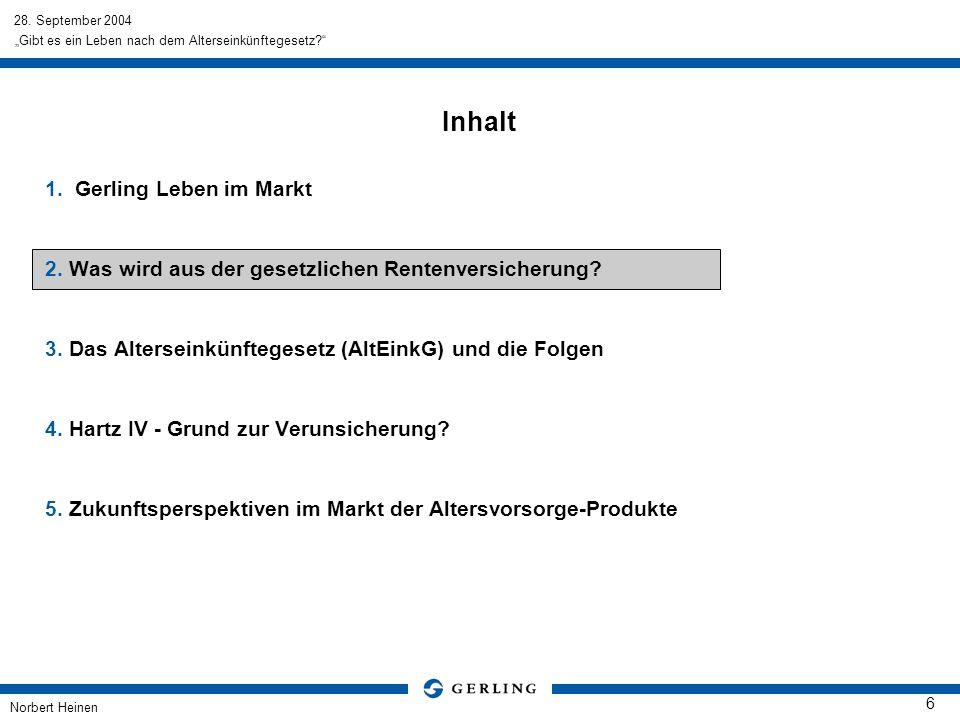 28. September 2004 Norbert Heinen 6 Gibt es ein Leben nach dem Alterseinkünftegesetz? Inhalt 1.Gerling Leben im Markt 2. Was wird aus der gesetzlichen