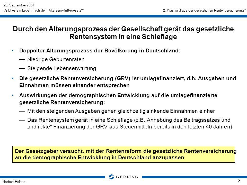 28. September 2004 Norbert Heinen 8 Gibt es ein Leben nach dem Alterseinkünftegesetz? Durch den Alterungsprozess der Gesellschaft gerät das gesetzlich