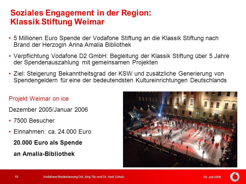 20. Juli 2006 Vodafone Niederlassung Ost, Jörg Titz und Dr. Axel Schulz10 Soziales Engagement in der Region: Klassik Stiftung Weimar 5 Millionen Euro