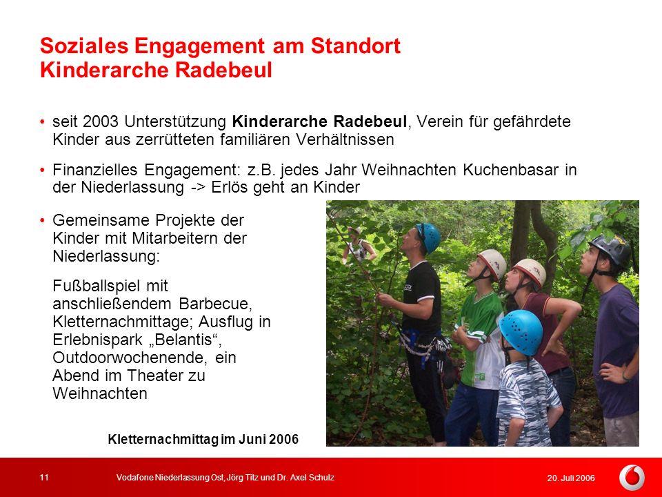 20. Juli 2006 Vodafone Niederlassung Ost, Jörg Titz und Dr. Axel Schulz11 Soziales Engagement am Standort Kinderarche Radebeul seit 2003 Unterstützung