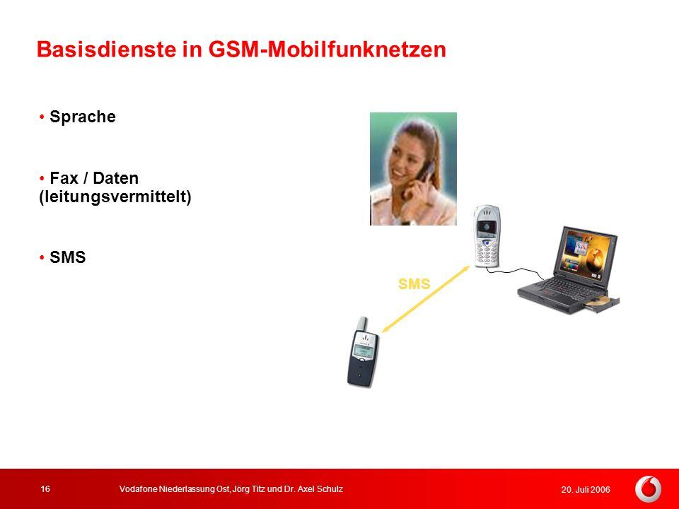20. Juli 2006 Vodafone Niederlassung Ost, Jörg Titz und Dr. Axel Schulz16 Sprache Fax / Daten (leitungsvermittelt) SMS Basisdienste in GSM-Mobilfunkne