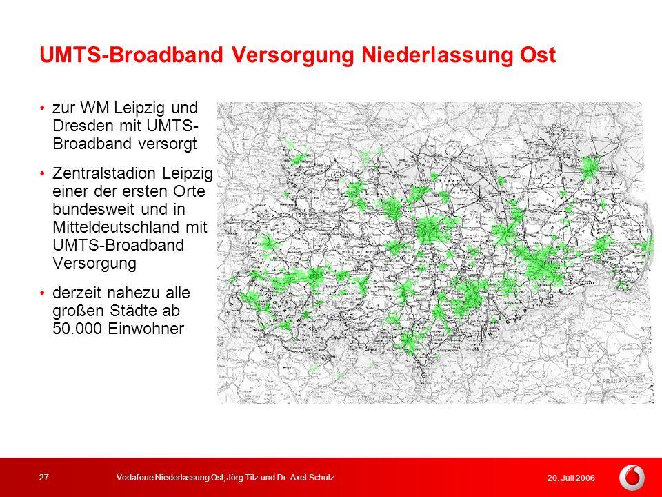 20. Juli 2006 Vodafone Niederlassung Ost, Jörg Titz und Dr. Axel Schulz27 UMTS-Broadband Versorgung Niederlassung Ost zur WM Leipzig und Dresden mit U