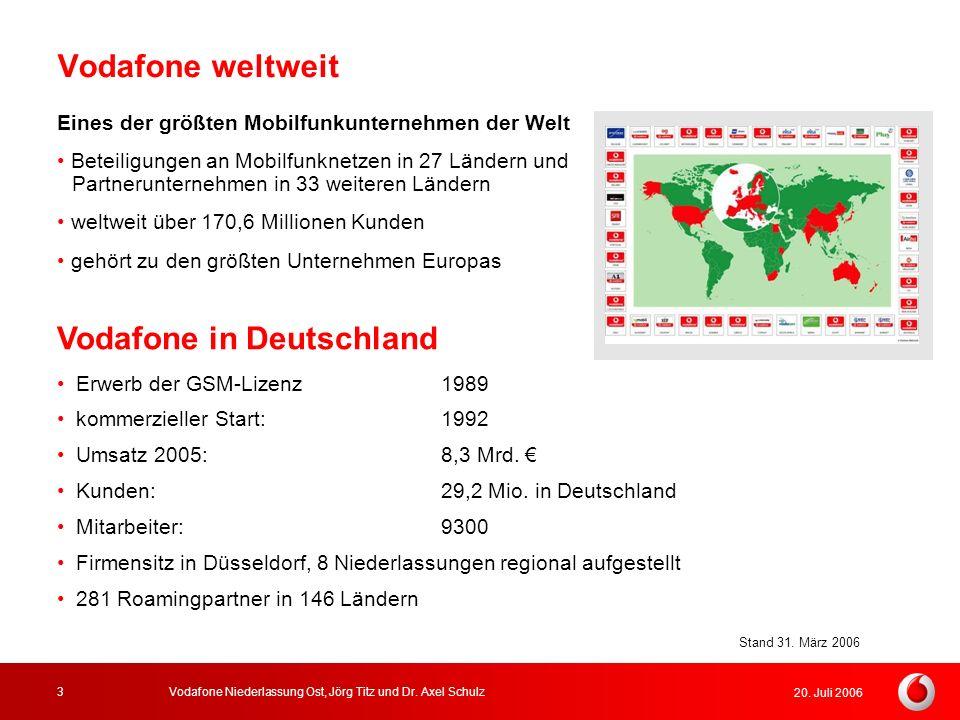 20. Juli 2006 Vodafone Niederlassung Ost, Jörg Titz und Dr. Axel Schulz3 Vodafone weltweit Eines der größten Mobilfunkunternehmen der Welt Beteiligung
