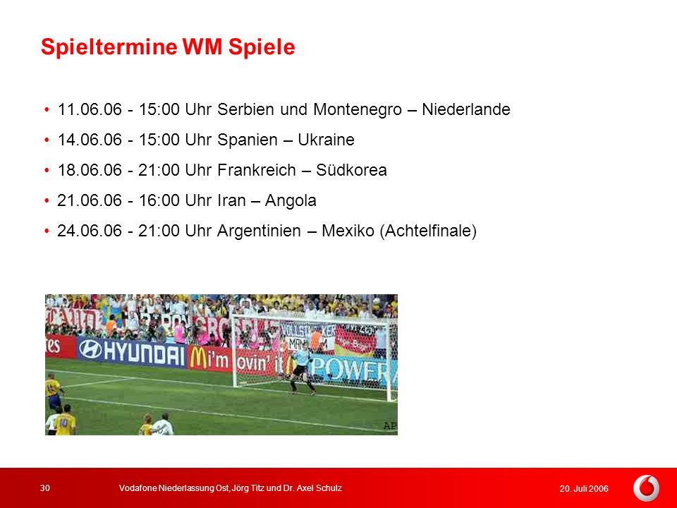 20. Juli 2006 Vodafone Niederlassung Ost, Jörg Titz und Dr. Axel Schulz30 Spieltermine WM Spiele 11.06.06 - 15:00 Uhr Serbien und Montenegro – Niederl