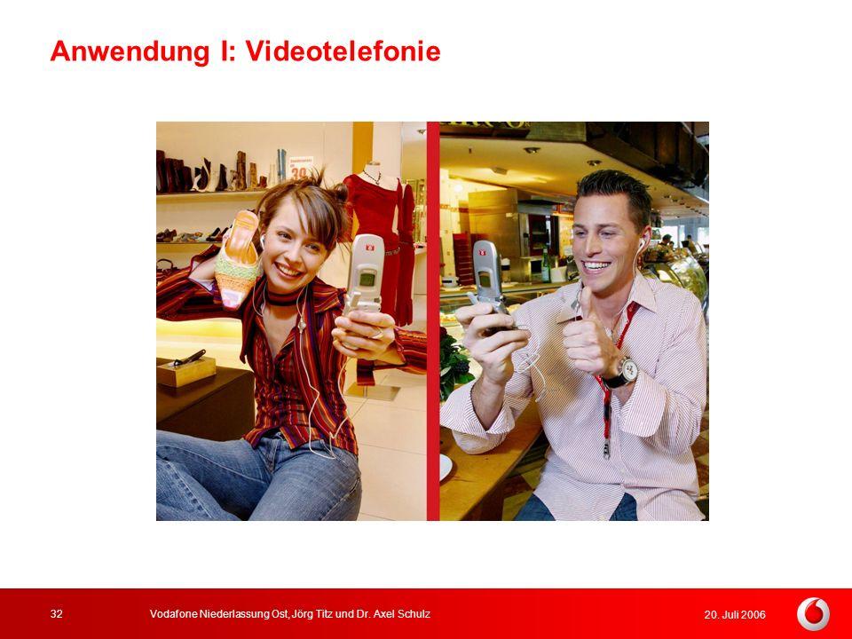 20. Juli 2006 Vodafone Niederlassung Ost, Jörg Titz und Dr. Axel Schulz32 Anwendung I: Videotelefonie