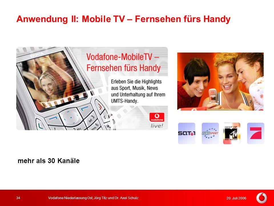 20. Juli 2006 Vodafone Niederlassung Ost, Jörg Titz und Dr. Axel Schulz34 mehr als 30 Kanäle Anwendung II: Mobile TV – Fernsehen fürs Handy