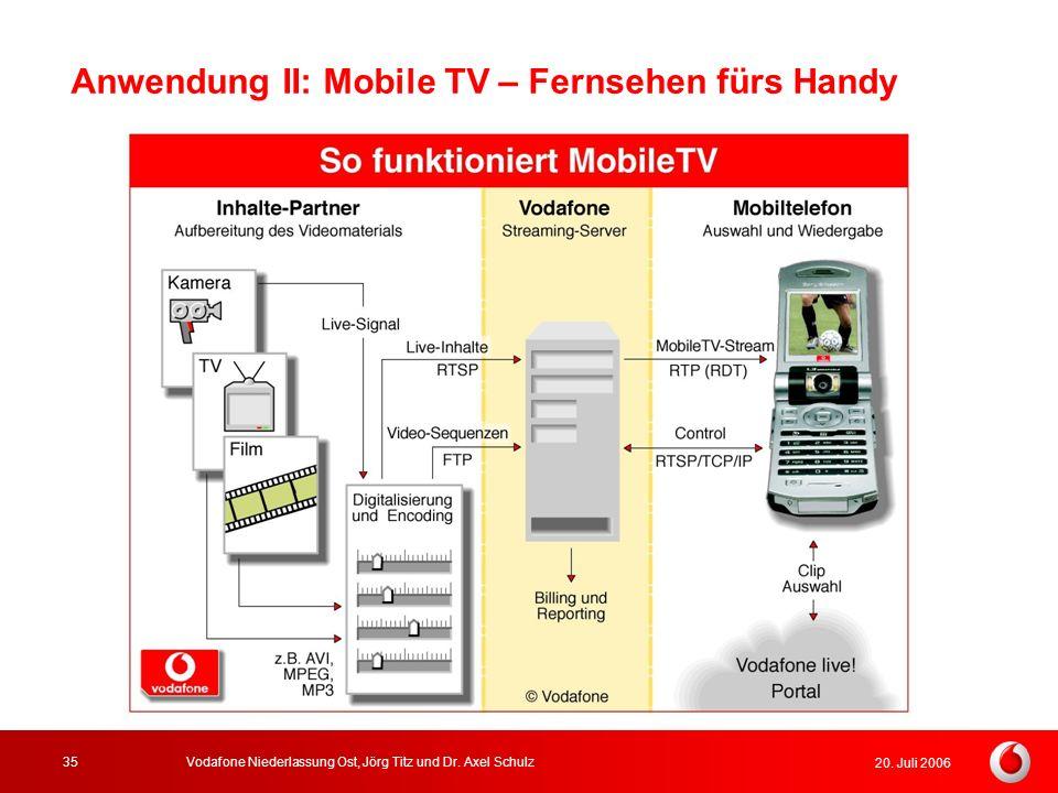 20. Juli 2006 Vodafone Niederlassung Ost, Jörg Titz und Dr. Axel Schulz35 Anwendung II: Mobile TV – Fernsehen fürs Handy