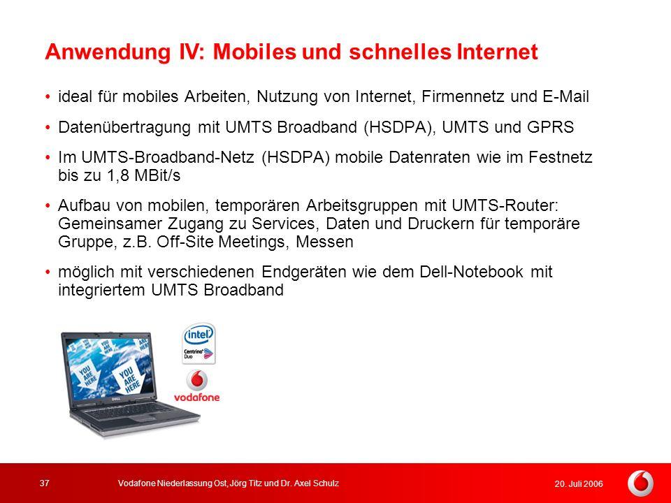 20. Juli 2006 Vodafone Niederlassung Ost, Jörg Titz und Dr. Axel Schulz37 Anwendung IV: Mobiles und schnelles Internet ideal für mobiles Arbeiten, Nut