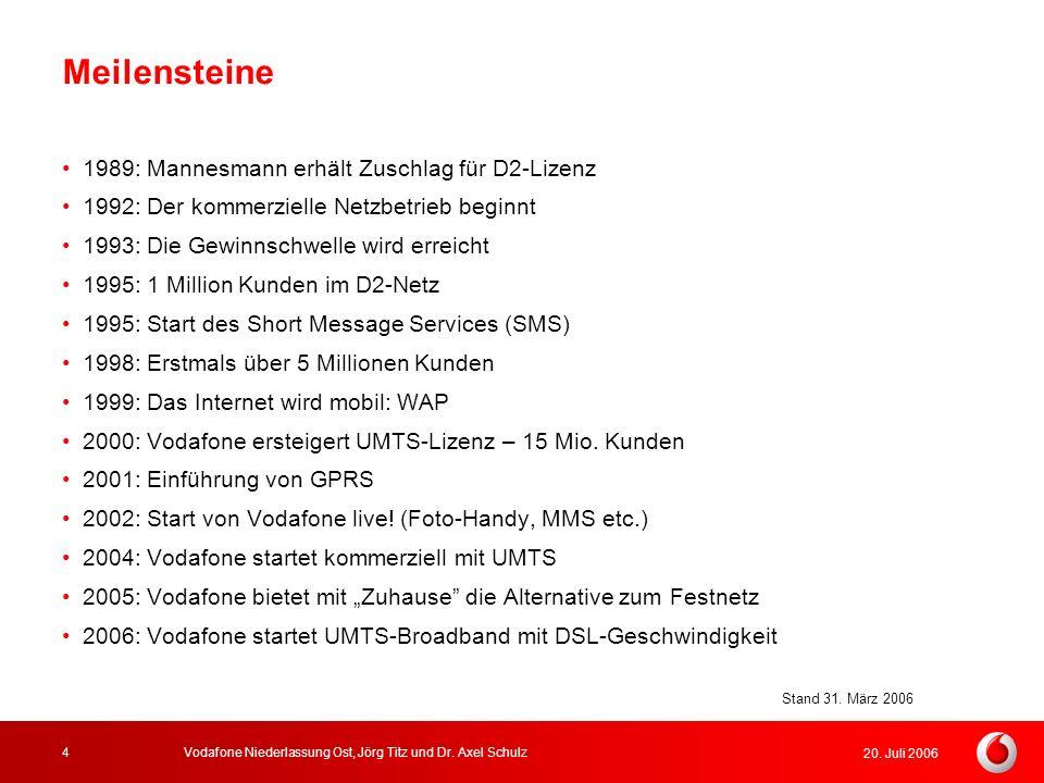 20. Juli 2006 Vodafone Niederlassung Ost, Jörg Titz und Dr. Axel Schulz4 Meilensteine 1989: Mannesmann erhält Zuschlag für D2-Lizenz 1992: Der kommerz