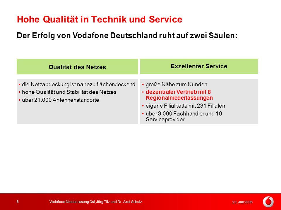 20. Juli 2006 Vodafone Niederlassung Ost, Jörg Titz und Dr. Axel Schulz6 Hohe Qualität in Technik und Service die Netzabdeckung ist nahezu flächendeck
