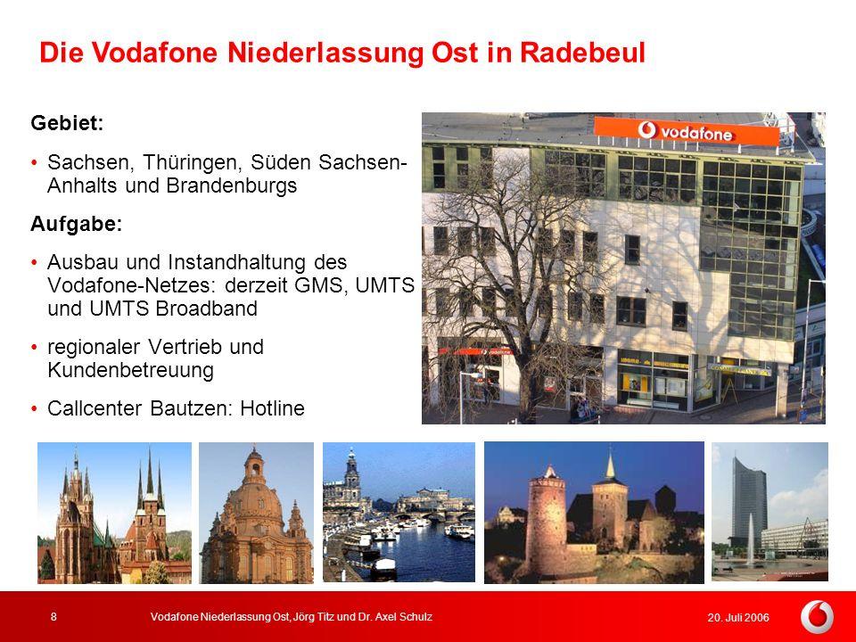 20. Juli 2006 Vodafone Niederlassung Ost, Jörg Titz und Dr. Axel Schulz8 Die Vodafone Niederlassung Ost in Radebeul Gebiet: Sachsen, Thüringen, Süden