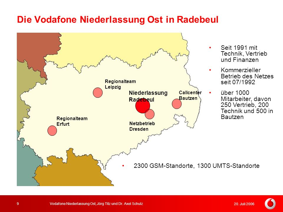 20. Juli 2006 Vodafone Niederlassung Ost, Jörg Titz und Dr. Axel Schulz9 Die Vodafone Niederlassung Ost in Radebeul Niederlassung Radebeul Regionaltea