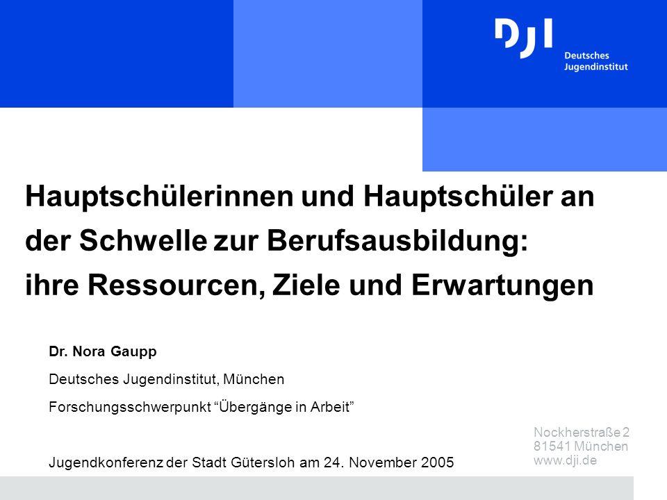 Nockherstraße 2 81541 München www.dji.de Hauptschülerinnen und Hauptschüler an der Schwelle zur Berufsausbildung: ihre Ressourcen, Ziele und Erwartungen Dr.