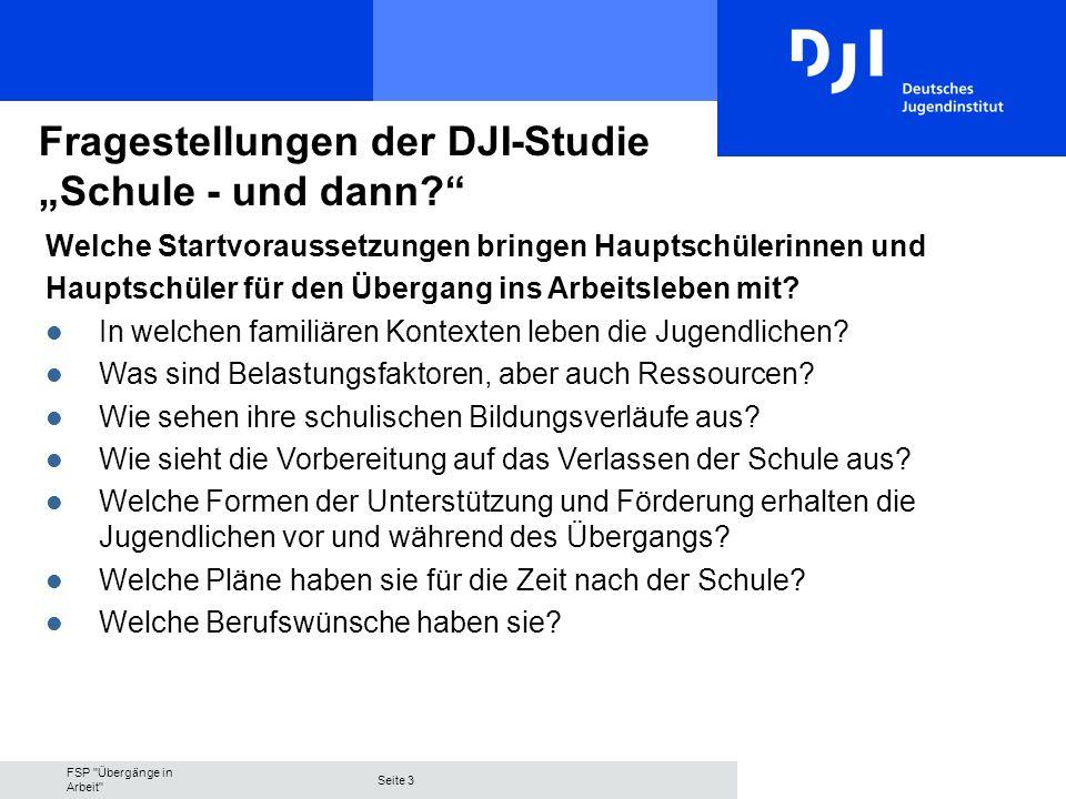 FSP Übergänge in Arbeit Seite 3 Fragestellungen der DJI-Studie Schule - und dann.