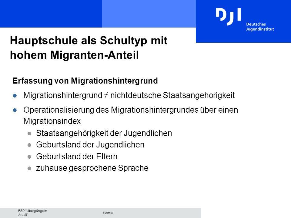 FSP Übergänge in Arbeit Seite 7 Hauptschule als Schultyp mit hohem Migranten-Anteil l Anteil junger Migranten Gesamtindex 58 % l Verteilung der einzelnen migrationsrelevanten Variablen Merkmale von Migrationshintergrund (Auch) eine andere als die deutsche Staatsangehörigkeit29 % Jugendliche(r) nicht in Deutschland geboren30 % Mutter nicht in Deutschland geboren49 % Vater nicht in Deutschland geboren52 % Zuhause (auch) eine andere Sprache als deutsch51 % Gesamtindex58 %