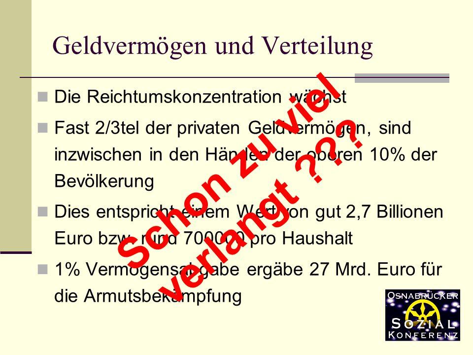 Die Reichtumskonzentration wächst Fast 2/3tel der privaten Geldvermögen, sind inzwischen in den Händen der oberen 10% der Bevölkerung Dies entspricht einem Wert von gut 2,7 Billionen Euro bzw.