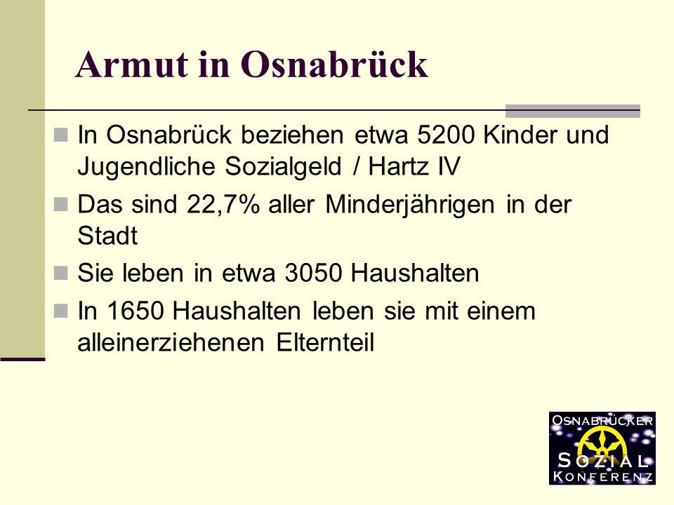 In Osnabrück beziehen etwa 5200 Kinder und Jugendliche Sozialgeld / Hartz IV Das sind 22,7% aller Minderjährigen in der Stadt Sie leben in etwa 3050 Haushalten In 1650 Haushalten leben sie mit einem alleinerziehenen Elternteil Armut in Osnabrück