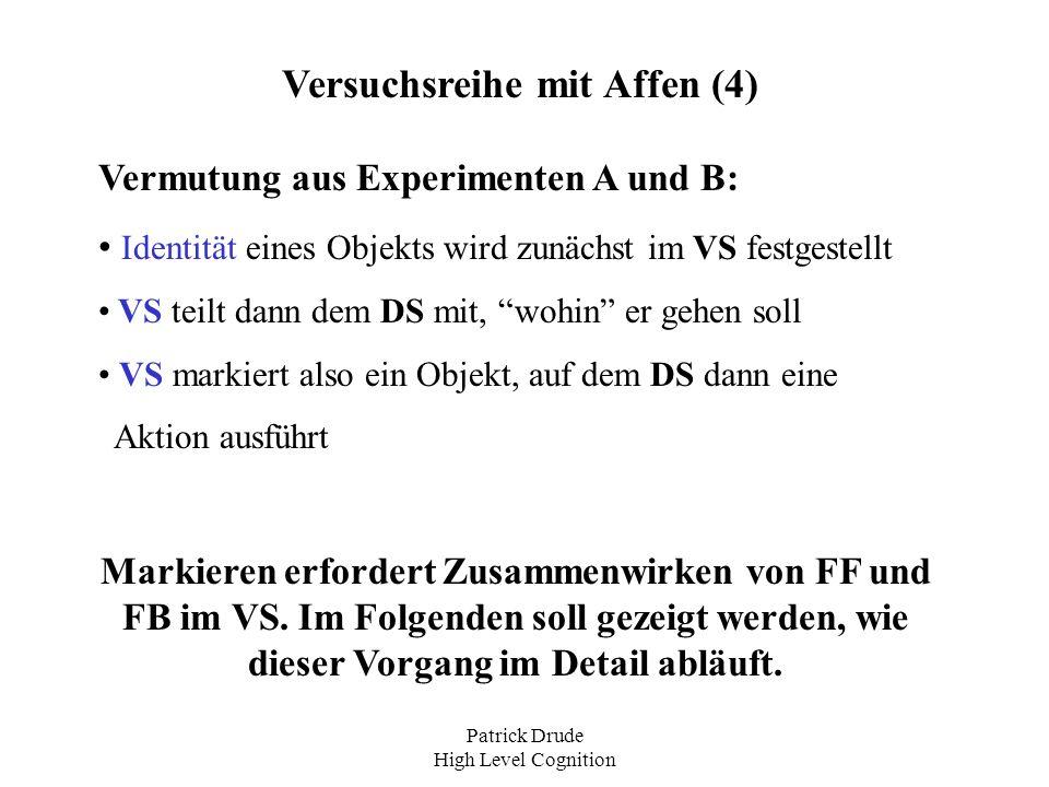 Patrick Drude High Level Cognition Versuchsreihe mit Affen (4) Vermutung aus Experimenten A und B: Identität eines Objekts wird zunächst im VS festges
